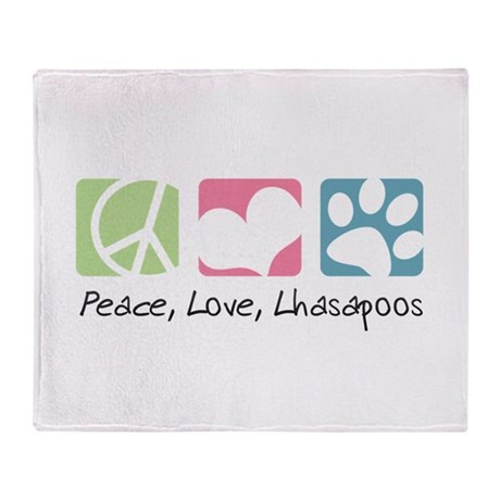 Peace, Love, Lhasapoos Throw Blanket