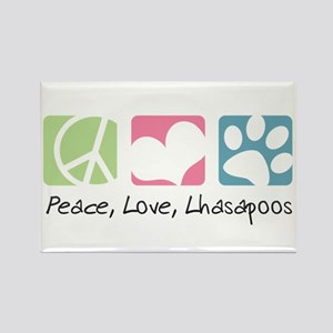 Peace, Love, Lhasapoos Rectangle Magnet