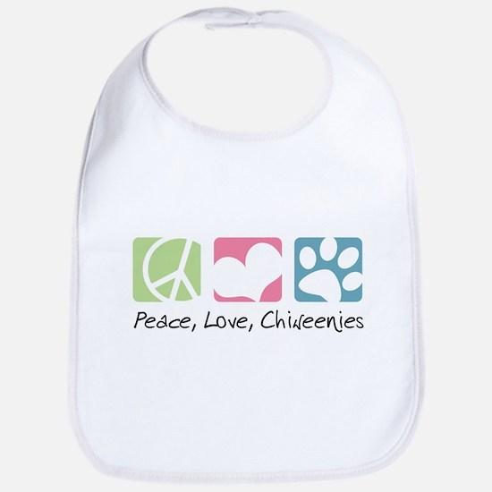 Peace, Love, Chiweenies Bib