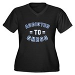 Addicted to Chess Women's Plus Size V-Neck Dark T-