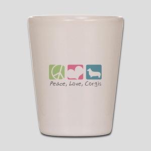 Peace, Love, Corgis Shot Glass