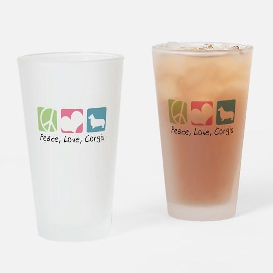 Peace, Love, Corgis Drinking Glass