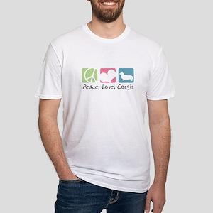 Peace, Love, Corgis Fitted T-Shirt