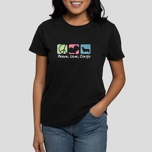 Peace, Love, Corgis Women's Dark T-Shirt