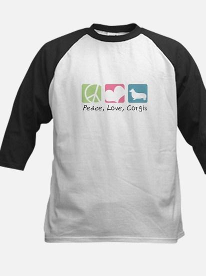 Peace, Love, Corgis Kids Baseball Jersey