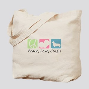 Peace, Love, Corgis Tote Bag