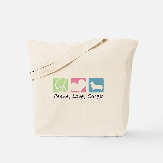 Peace, Love, Corgis Tote Bag