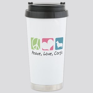 Peace, Love, Corgis Stainless Steel Travel Mug