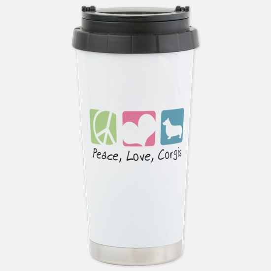 Peace, Love, Corgis Stainless Steel Travel Mug