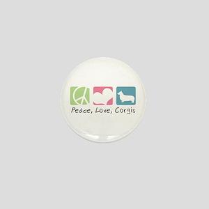 Peace, Love, Corgis Mini Button