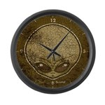The Visitor (Gray) (Distressed) Large Wall Clock