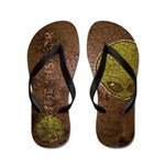 The Visitor (Green) (Distressed) Flip Flops