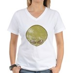 The Visitor (Green) (Distressed) Women's V-Neck T-