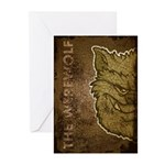 The Werewolf (Gray) (Distressed) Greeting Cards (P