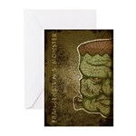 Frankenstein's Monster (Distressed) Greeting Cards