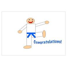 Light Blue Belt Congratulations Poster