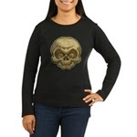 The Skull (Distressed) Women's Long Sleeve Dark T-