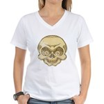 The Skull (Distressed) Women's V-Neck T-Shirt