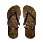 Dark Kitty (Distressed) Flip Flops