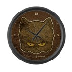 Dark Kitty (Distressed) Large Wall Clock