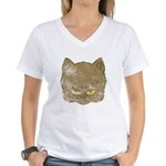 Dark Kitty (Distressed) Women's V-Neck T-Shirt