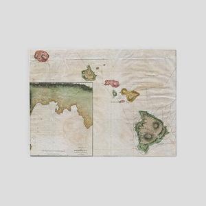 Vintage Map of Hawaii (1785) 5'x7'Area Rug
