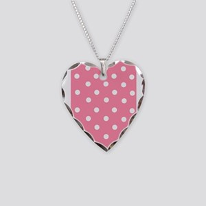 Pink with White Dots Necklace Heart Charm