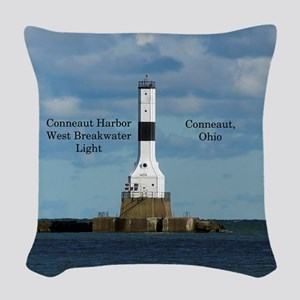 Conneaut Harbor West Breakwater Woven Throw Pillow