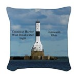 Conneaut Harbor West Breakwater Woven Throw Pillow