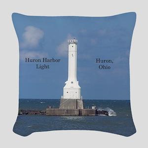 Huron Harbor Light Woven Throw Pillow