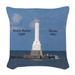 Huron Harbor Light Woven Throw Pillow