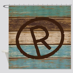 R Branding Iron Monogram Shower Curtain