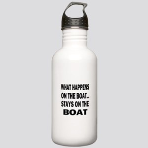 WHAT HAPPENS ON THE BOAT Stainless Water Bottle 1.