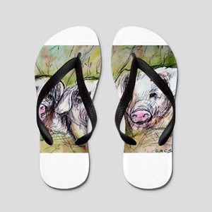 Pigs, Three, Cute, art, Flip Flops