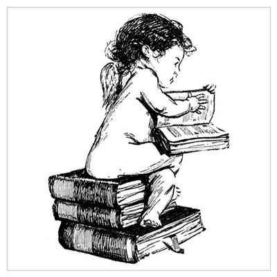 Cherub on Books Canvas Art