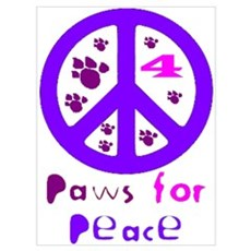 Paws for Peace Purple Poster