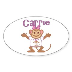 Little Monkey Carrie Sticker (Oval)