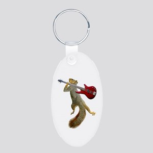 Squirrel Red Guitar Aluminum Oval Keychain