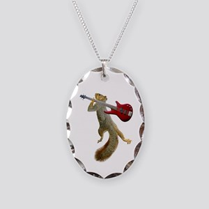 Squirrel Red Guitar Necklace Oval Charm