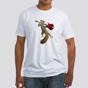 Squirrel Red Guitar Fitted T-Shirt
