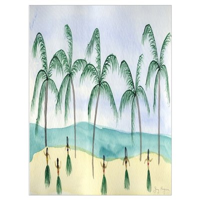 Hulas on the Beach Framed Print