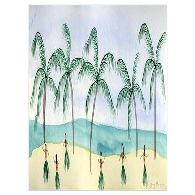 Hulas on the Beach Poster
