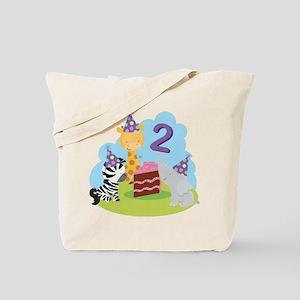 2nd Birthday Zoo Animals Tote Bag