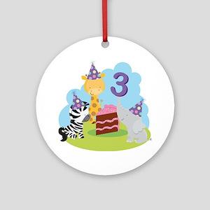 3rd Birthday Zoo Animals Ornament (Round)