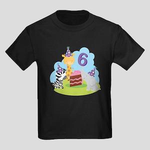 6th Birthday Zoo Animals Kids Dark T-Shirt
