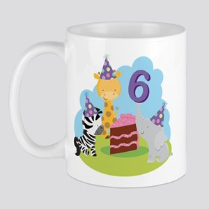 6th Birthday Zoo Animals Mug