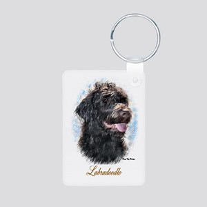 Labradoodle Art Aluminum Photo Keychain