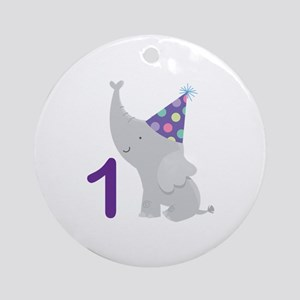 1st Birthday Elephant Ornament (Round)