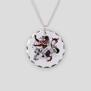 Brown Tartan Lion Necklace Circle Charm