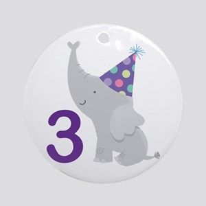 3rd Birthday Elephant Ornament (Round)